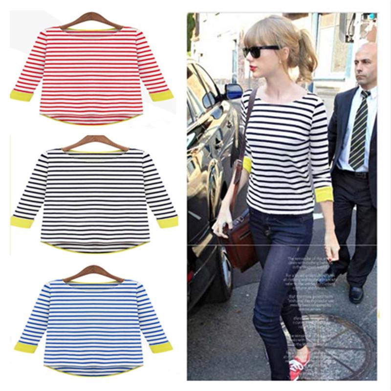 2014 Nova moda Ladies ' Tops T -shirt , Stripe Lazer O- Neck Ladies Andorinha -Atada das mulheres Camisetas , T das senhoras(China (Mainland))