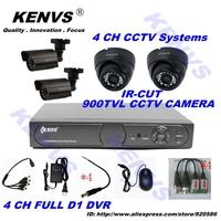 DVR WITH HDMI,4CH H.264 CCTV Standalone DVR 4*900TVL IR indoor Camera CCTV system dvr kit