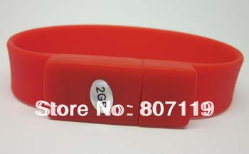 Free shipping, Hot sale New high quality Red Bracelet Wristband High Speed 2gb USB Flash Drive Silicone