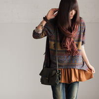 T1088a vintage faux two piece o-neck pullover female t-shirt 2013 autumn cocoa - meters