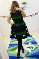 Hannah high quality ! woolen patchwork gauze elegant one-piece dress mm plus size