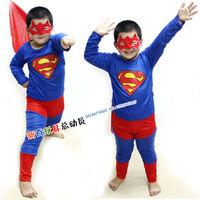 Free shipping+3pcs/lot Children Halloween Christmas apparel uniform costumes/cosplay masquerade/Superman clothing 105-125cm