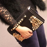 2013 spring new retro bright diamond Ethnic handbag envelope bag bag diagonal bag self-defense