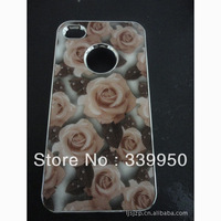 For iphone4/4s phone shell wholesale fashion three-dimensional flower pattern PC material case free shipping