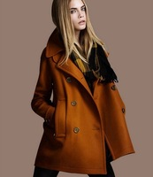 2013 New Autumn Winter Plus Size Women's Cashmere Wool Trench Coat  Turn-down Collar Outdoor Jacket Yellow Coat FWO10661