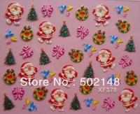 Hot sale Christmas theme nail art sticker 3d nail sticker supplier