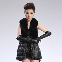 Mink fight mink leather clothing fur vest fox fur coat fur vest female medium-long