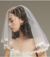 Aestheticism Eyelash Lace Lacework White Bride Marry Short Veil