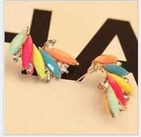 2013 Free Shiping Erope And The United States Jewelry Gorgeous Colour Gem Restoring Antient Ways Leave Stud Earring