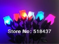 LED rose lighting artifical rose led night light artificial flower colorful rose bud small light gifts handcraft flowers light