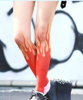 Princess gothic lolita pantyhose Harajuku style cool personality flame fire print pantyhose cosplay soks