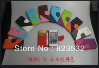 Free shipping FOR IPHONE 5 C stone grain color matching, leather belt stent phone protection holster, wholesale price, gifts