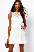 Free shipping SexyPure White Lace Skater Dress with Pleated Skirt  LC2902