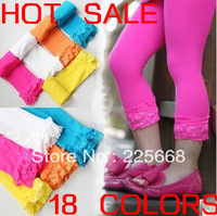 Big sale!!10pcs/lot baby girl short lace leggings candy color girls velvet short tights12 colors For 2-12years  FREE SHIPPING
