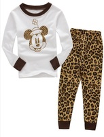 2013 kids boys girls long sleeve leopard mickey mouse cotton pajamas  children clothing set / baby garment