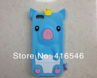 1pcsXNew Cute 3D Crown Pig Soft Silicon Case for Apple iPhone 5C 3D Case+Screen film