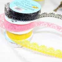 1set/5pcs Free Shipping Rolls DIY Diary Hollow Decorative Stickers Lace Tape Stationery School Gift A2494