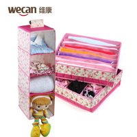 Conentional young girl pink cotton cloth bamboo storage set piece taste underwear socks finishing box 780g