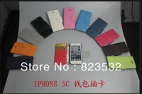 Free shipping FOR IPHONE 5 C wallet card, with support, leather phone case, wholesale prices, gift