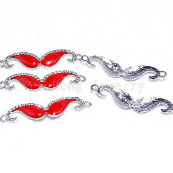 Wholesale 25 Pcs/Lot Oil Drip Alloy Red Goatee Beads Charms Necklace Pendant 2 Hole Connector Fit Diy Weave Bracelet Fashion