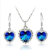 Hot fashion wild  popular holiday gift 2014 Elements Heart of Ocean Austrian Crystal Colorful Heart earring necklace jewelry set