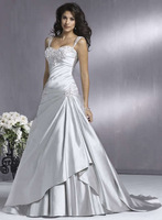 High Quality!    Silver Ball Gown Wedding Dresses Wedding Attire Dresses Pageant Dress Custom Made Size 2-10 12-20 JLW923353