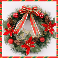Christmas decoration supplies christmas tree 40cm red plaid bow wreath 184