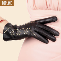 New arrival autumn and winter thermal genuine leather gloves women's fashion rivet sheepskin gloves thick