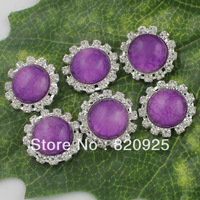 10Pcs Clear Rhinestone Stone Silver Alloy Round Purple Sew On Sewing Button
