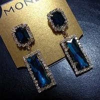 Free Shipping Fashion Cute 18K Gold Plated Rhinestone Square Tassel Dangle Earrings High Quality