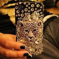 Alloy leopard head gem diamond paste diamond mobile phone shell