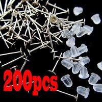 200pcs Flat Pad Silver Plated Earring Ear Stud Post Back Stopper Findings 4/6mm[99519-99520]