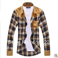 2013 new men's vintage plaid long sleeve splicing patch shirts for men high quality cotton shirts