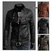 2014  New Men's Leather Jacket Korean Slim Leather Jacket PU  High Quality Mens Leather Jackets And Coats 4 Size 3 Color