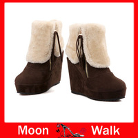Snow boots for lady warm short winter nubuck leather tassel zip women's shoes ankel wedges high heel designer new 2013 L1858