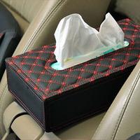 QP009 rectangular PU leather facial tissue napkin box toilet paper dispenser case holder home office decoration car tissue box