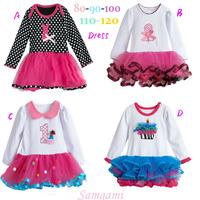 Free Shipping(5pcs/lot)Brand New Autumn/Spring girls long sleeved dresses fashion baby girls Christmas dress kids cupcake dress