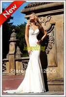 2013 Sexy Uniqueness Mermaid Formal Gown Satin with Open Back  Sweetheart Court Train Crystal Bowknot  Evening Dresses