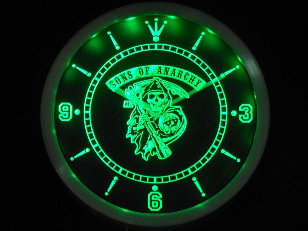 nc0573 Sons of Anarchy Neon LED Wall Clock ( g148-b design) Wholesale Dropshipping(China (Mainland))