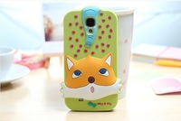 New Comes with luminous  soft silicone fox animal world style case cover for samsung galaxy s4 i9500+ Retail box