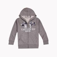Letter embroidered medium-large male child zipper hooded sweatshirt 8 - 16