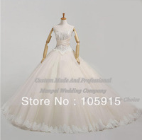 Luxury Real Sample Royal Ivory Corset Lace With Beads Ball Gown Wedding Dresses Bridal Gowns Organza AL-23