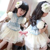 Girls Denim Blue Multilayer Gauze Lace Design Tutu Princess Dress for 2-6 Years
