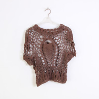 Handmade crochet 25 all-match cutout twiddlefish sweater