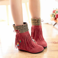 2013 New  Female cotton shoes Can be customized sweet tassel paillette beaded Internal increase height tassel short boots
