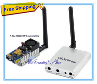 5.8G FPV 2W 8Ch 2000mW Wireless Audio Video Transmitter AV Sender+ RC305 Receiver Kit,Double lines AV output