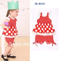 Wholesale  2013 new style  Polka Dot Printed Girls Top + Shorts  5set/lot   free shipping L1