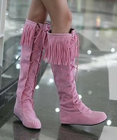 Free shipping! fashion ladies flock lacing tassel knee-high boots flat boots casual shoes long boots size 35-43,GS_A1174