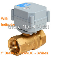 electric water valve 12V/24VDC,3 wires,brass BSP/NPT 1''  with indicator function,high quality for water heater, boiler,pump