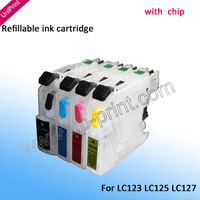 4pcs LC123 LC125 LC127 with chip refillable ink cartridge for brother DCP-J4110DW MFC-J4410DW MFC-J4510DW MFC-J4610DW J4710DW
